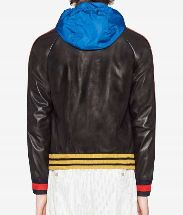 Mens Letterman Style Black Hooded Bomber Leather Jacket