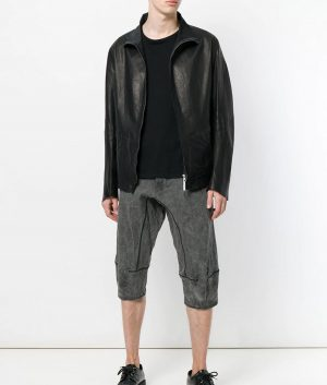 Barry Mens Turn Down Collar Slimfit Black Calf Jacket