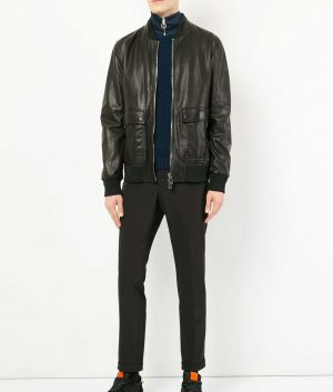 Bouchard Mens Slimfit Casual Leather Jacket
