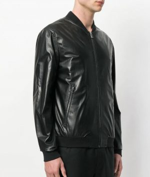 Mens Mandiran Collar Slimfit Black Bomber Leather Jacket