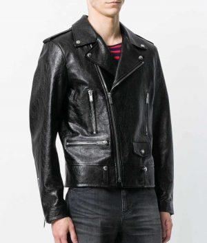 Charles Mens Lapel Collar Slimfit Black Motorcycle Jacket