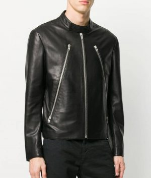 Clifton Mens Cafe Racer Style Black Zip Detail Leather Jacket