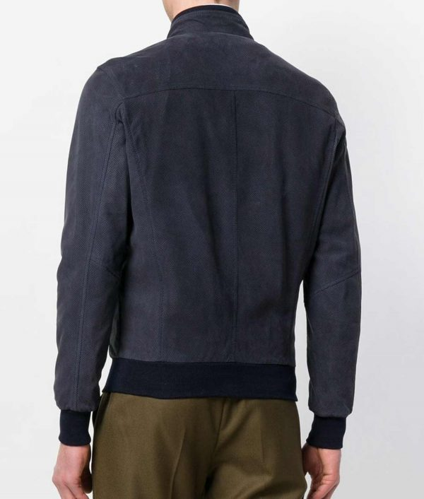 Colucci Mens Slimfit Style Navy Blue Leather Zipped Jacket