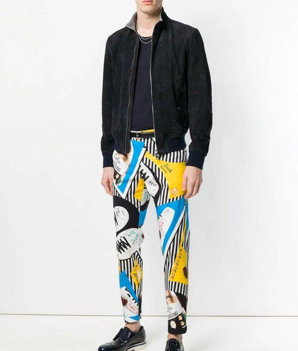 Mens Turn Down Collar Slimfit Style Black Bomber Leather Jacket