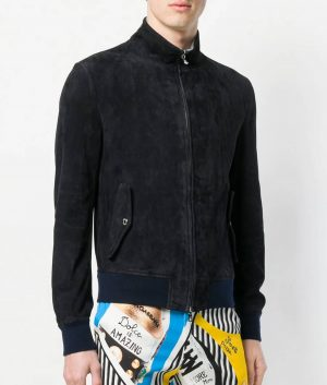 Corona Mens Turn Down Collar Slimfit Style Black Bomber Leather Jacket