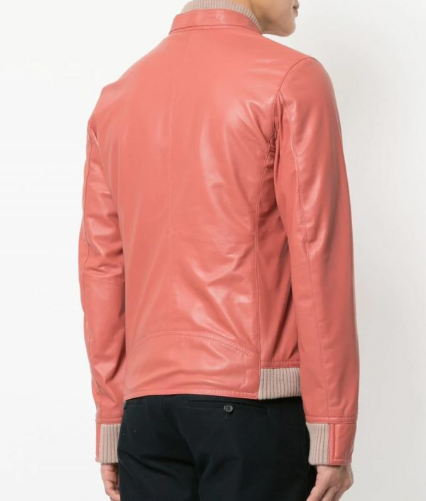 Mens Pink Lamb Skin Zip Up Biker Leather Jacket