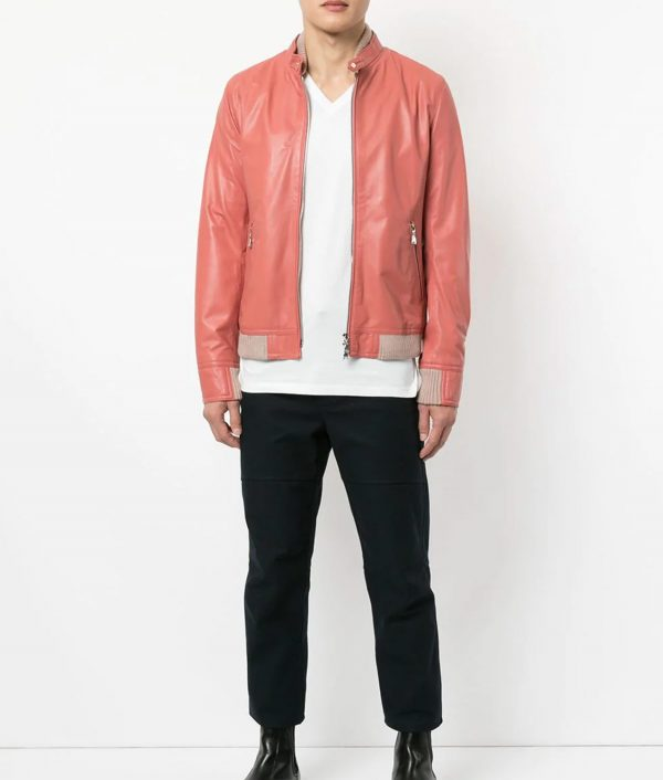 Courtney Mens Pink Lamb Skin Zip Up Biker Jacket