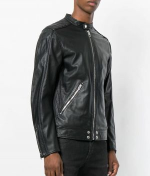 Mens Slimfit Cafe Racer Style Black Leather Jacket