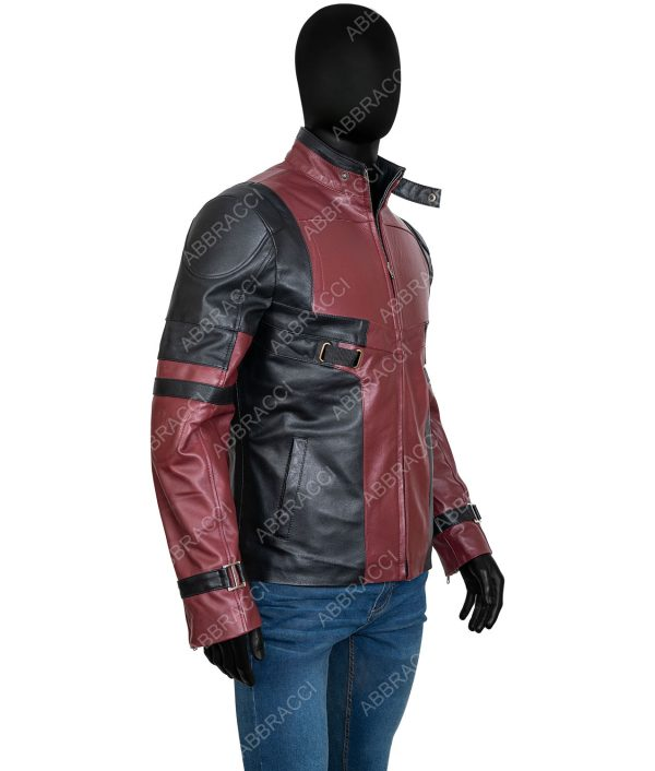 Deadpool Red And Black Leather Jacket