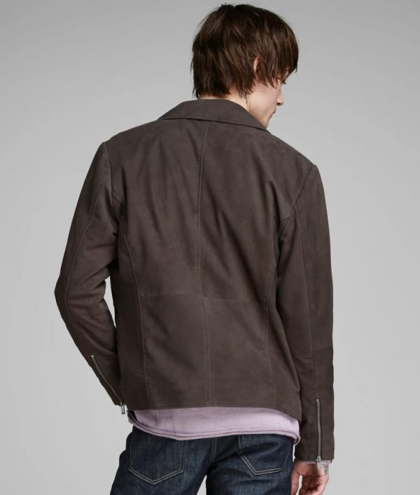 Mens Slimfit Casual Style Grey Classic Leather Jacket