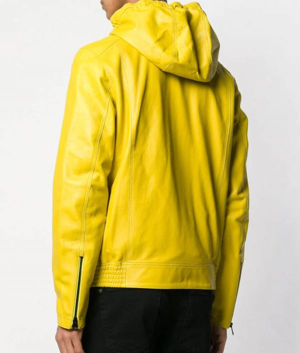 Mens Casual Style Yellow Hooded Leather Jacket