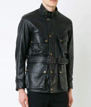 Haney Mens Black Thick Sheepskin Vintage Style Biker Black Jacket