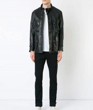 Haney Mens Black Thick Sheepskin Vintage Style Biker Jacket