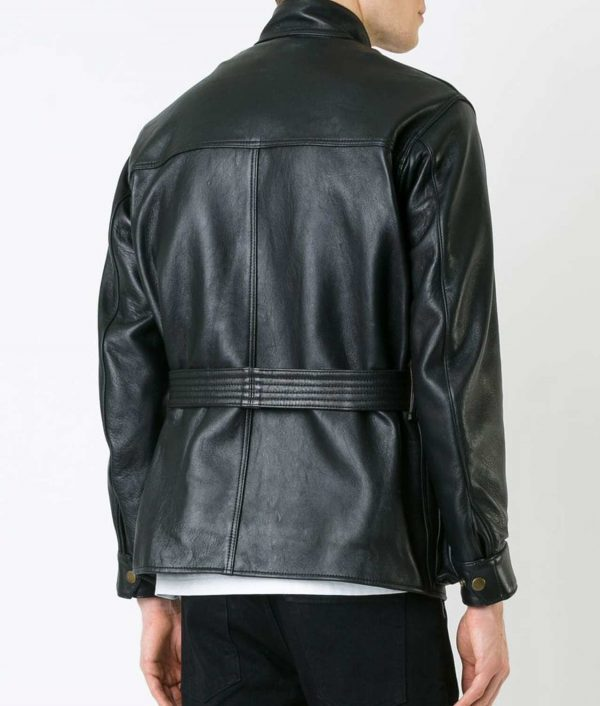 Haney Mens Black Thick Sheepskin Style Biker Black Jacket