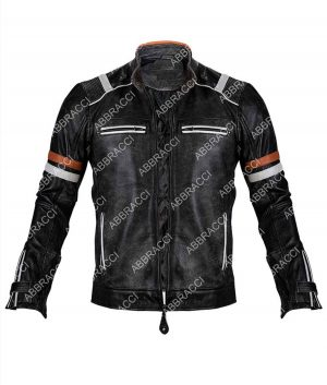 Harley Davidson Black Cafe Racer Leather Jacket