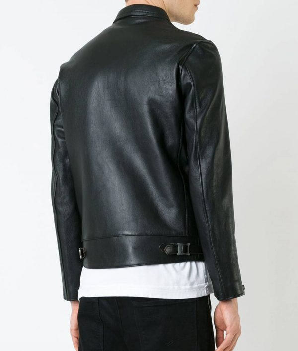Mens Turn Down Collar Slimfit Black Leather Jacket