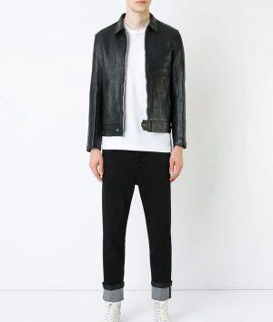 Hope Mens Turn Down Collar Black Leather Jacket