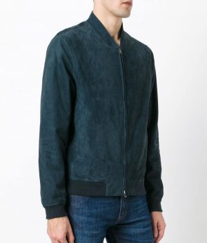 Mens Mandiran Collar Blue Zipped Bomber Leather Jacket