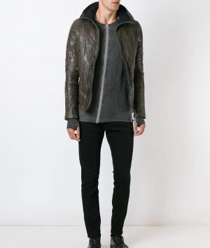 Mens Distressed Brown High Neck Collar Leather Jacket