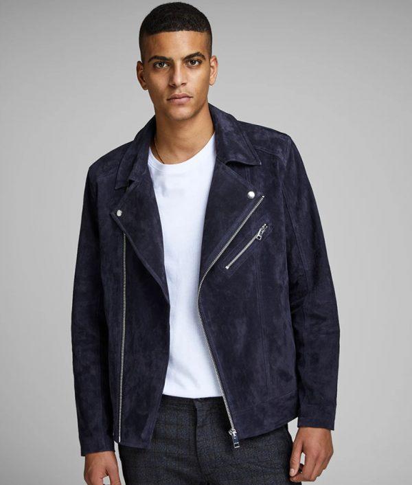 Mens Slimfit Lapel Collar Blue Suede Biker Leather Jacket