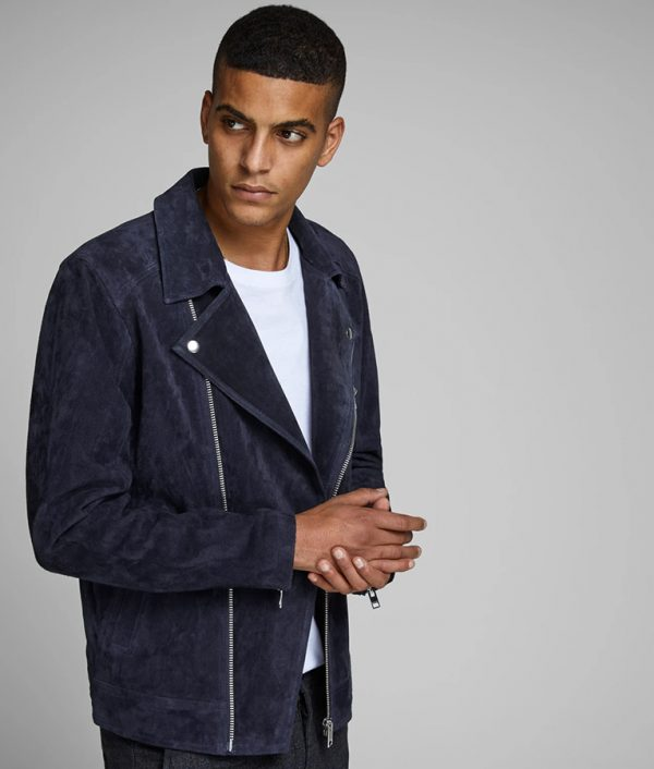 Jesse Mens Slimfit Lapel Collar Blue Suede Biker Jacket