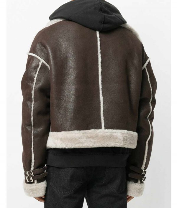 Spicher Mens Brown Sheep Skin Cropped Aviator Jacket