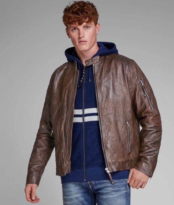 Robert Mens Distressed Brown Leather Jacket