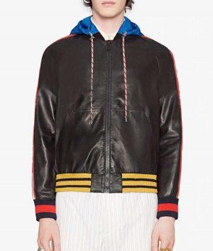 Barajas Mens Letterman Style Black Hooded Bomber Leather Jacket