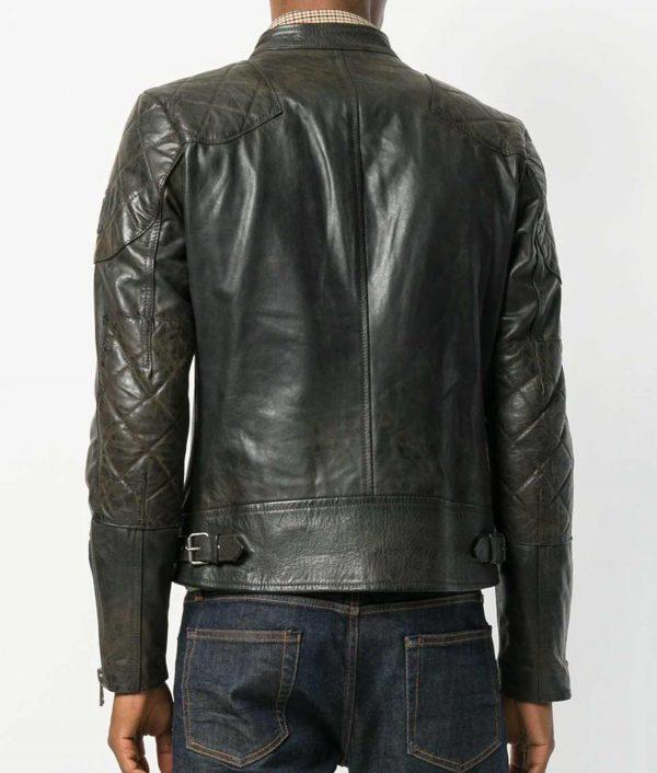 Alvarado Mens Padded Shoulders Zipped Biker Leather Jacket