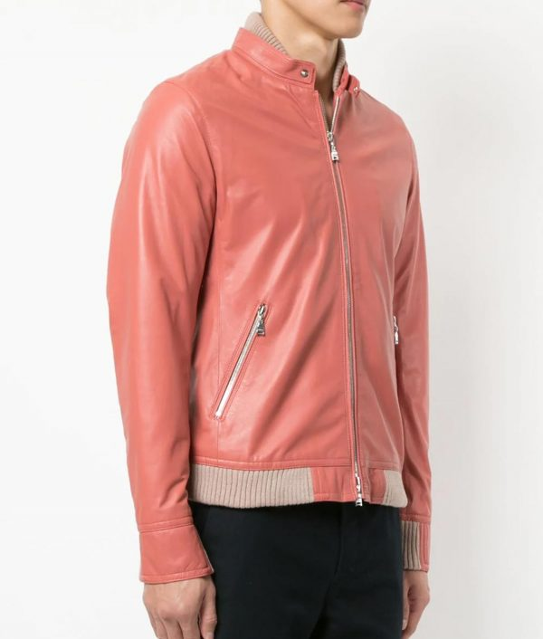 Courtney Mens Pink Lamb Skin Zip Up Biker Leather Jacket
