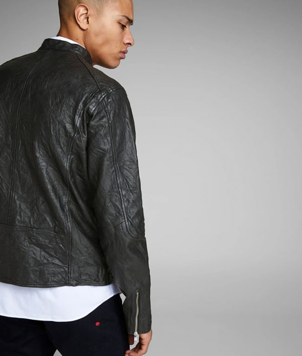 Arnold Mens Cafe Racer Style Black Motorcycle Jacket