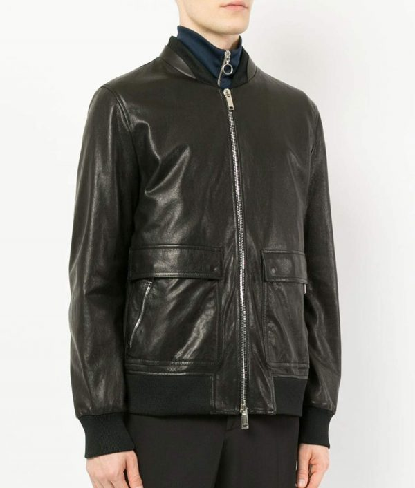 Bouchard Mens Slimfit Casual Bomber Leather Jacket