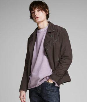 Eugene Mens Slimfit Casual Style Grey Classic Leather Jacket