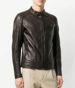 Nelson Mens Slimfit Padded Shoulders Brown Biker Leather Jacket
