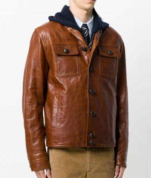 Lewis Mens Slimfit Shawl Collar Leather Jacket