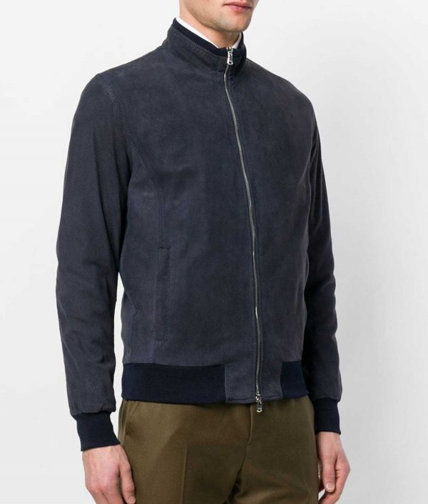 Colucci Mens Slimfit Style Navy Leather Zipped Jacket