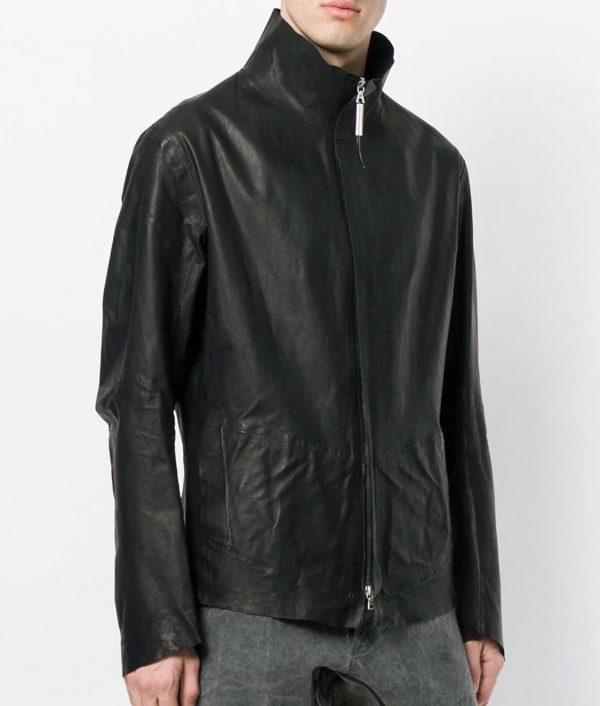 Barry Mens Turn Down Collar Slimfit Black Calf Leather Jacket