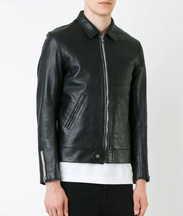 Hope Mens Turn Down Collar Slimfit Black Leather Jacket