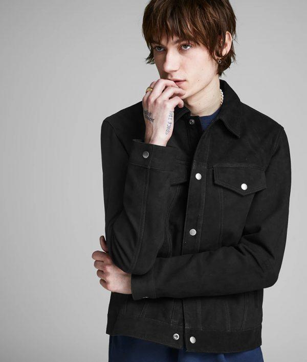 Ybarra Mens Turn Down Collar Slimfit Casual Style Black Leather Jacket