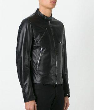Mens Mandiran Collar Slimfit Black Cafe Racer Leather Jacket