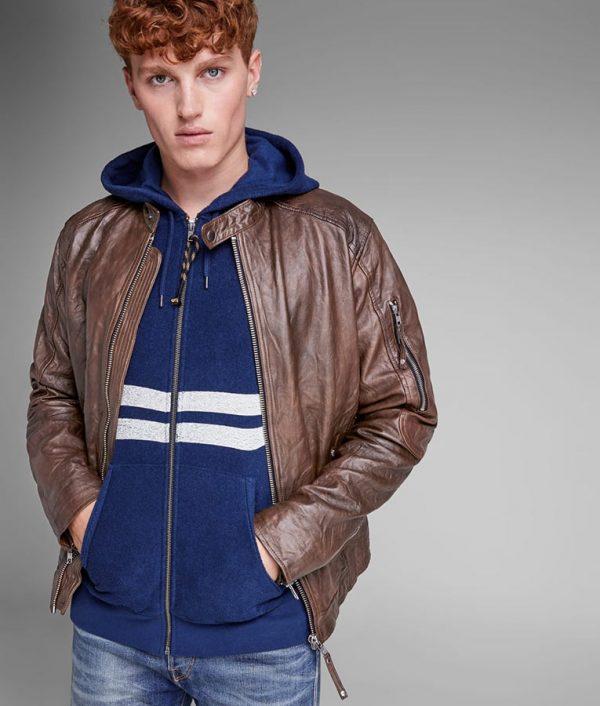 Mens Distressed Brown Biker Leather Jacket