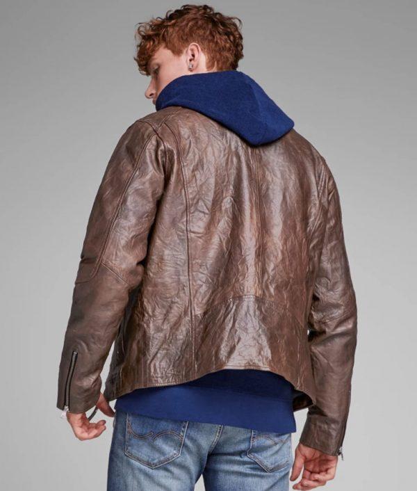 Robert Mens Distressed Brown Biker Leather Jacket