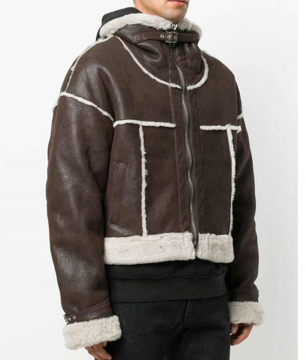 Spicher Mens Brown Sheep Skin Cropped Aviator Leather Jacket