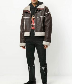 Mens Brown Sheep Skin Cropped Aviator Leather Jacket