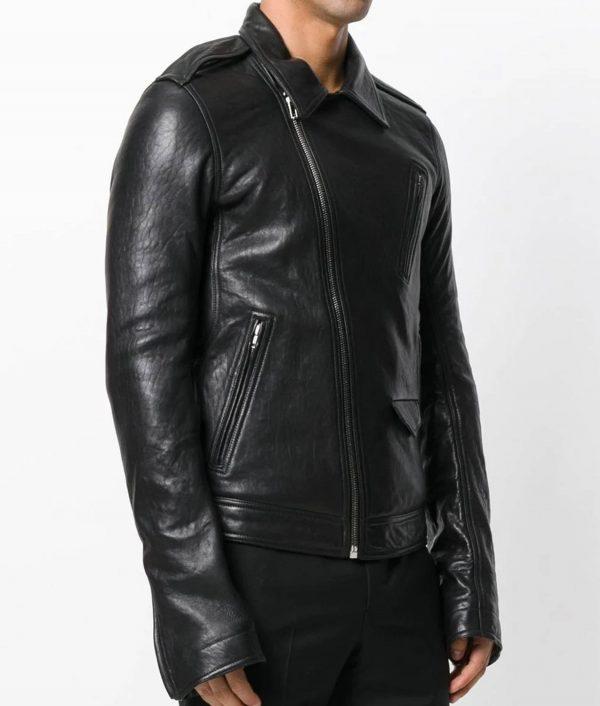 Thompson Mens Turn Down Collar Leather Jacket