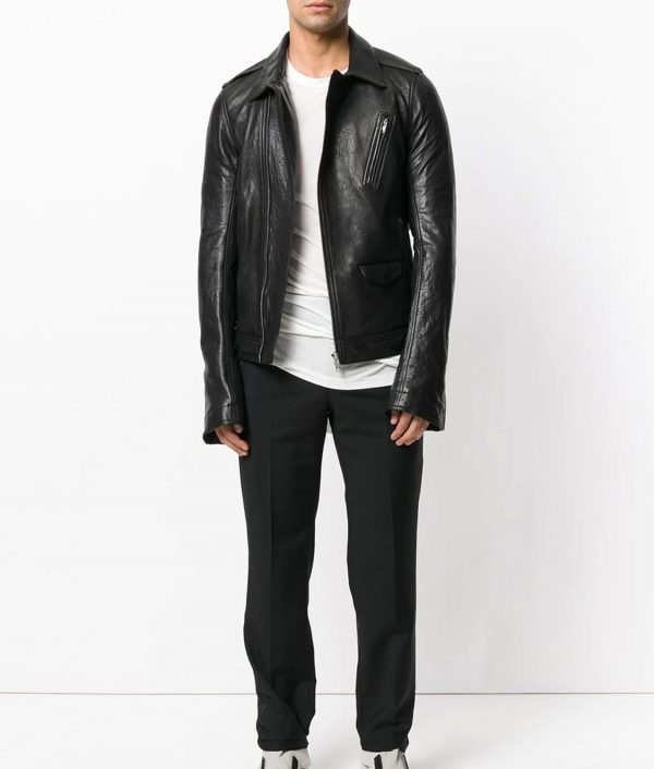 Thompson Mens Collar Leather Jacket