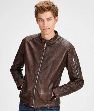 Mens Cafe Racer Style Biker Dark Brown Jacket