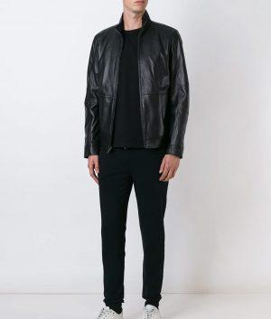 Mens Cafe Racer Black Zipped Leather Jacket