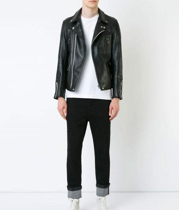 Williams Mens Lapel Collar Vintage Style Black Biker Jacket