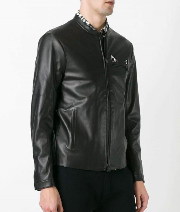 Wimberly Mens Mandiran Collar Metal Eye Black Leather Jacket